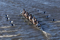 Ithaca College races in the Head of Charles Regatta Men`s College Eights Stock Photos