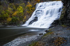 Ithaca Falls - Ithaca, New York. A view of Ithaca Falls in Ithaca, New York on an autumn morning stock photography