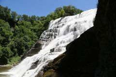 Ithaca Falls, a waterfall in New York`s Finger Lakes Region royalty free stock photos