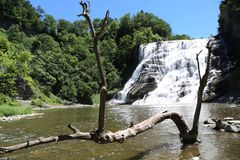 Ithaca Falls, a waterfall in New York`s Finger Lakes Region stock images
