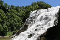 Ithaca Falls, a waterfall in New York`s Finger Lakes Region royalty free stock image