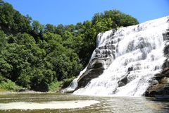 Ithaca Falls, a waterfall in New York`s Finger Lakes Region stock photography