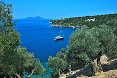 Ithaki-vista de Grécia, ilha da ilha Atokos Foto de Stock