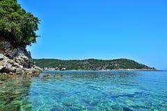Ithaki-vista de Grécia, ilha do seacoast perto de Kioni Fotos de Stock Royalty Free