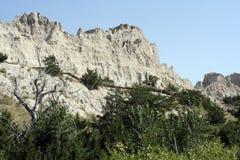 Itinéraire aménagé pour amateurs de la nature d'étagère de falaise, stationnement de bad-lands Photos stock