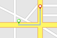 Itinéraire de destination de carte de route Image libre de droits