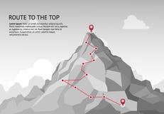 Itinéraire de montagne infographic Mission s'élevante de succès de croissance de carrière de but d'affaires de chemin de déf illustration stock