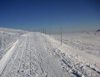 Itinéraire de ski de fond identifié par les bâtons en bois Image stock