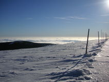 Itinéraire de ski de pays croisé d'hiver Photos libres de droits
