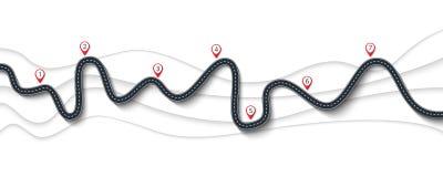 Itinéraire de voyage par la route et de voyage Route d'enroulement sur un fond blanc illustration libre de droits