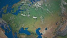 Itinéraire du vol commercial d'avion de Moscou vers Tokyo sur le globe de la terre Animation internationale d'introduction de voy illustration de vecteur