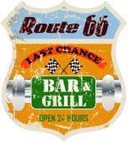 Itinéraire soixante-six signes de bar et grill, Image stock