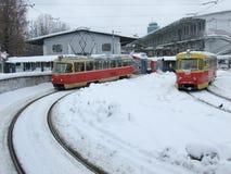 Itinerari del tram a Kiev Immagini Stock Libere da Diritti