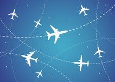 Itinerari dell'aeroplano illustrazione di stock
