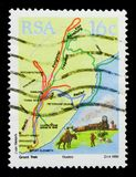 Itineraries, Sesquicentenaire migration Boer serie, circa 1988. MOSCOW, RUSSIA - OCTOBER 1, 2017: A stamp printed in South Africa shows Itineraries Royalty Free Stock Image
