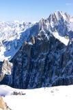 Itinerario bianco della valle, vista da Aiguille du Midi Fotografia Stock Libera da Diritti