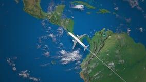 Itinerario del volo commerciale dell'aeroplano da Rio de Janeiro a San Francisco sul globo della terra illustrazione di stock