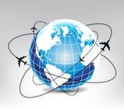 Itinerario dell'aeroplano in mondo blu Immagine Stock