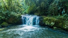 Itinerario delle cascate con 14 cascate in corupa uno di ultime aree della foresta atlantica nel Brasile fotografie stock