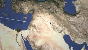 Itinerario di un aereo commerciale a Bagdad, Irak dall'animazione ad ovest di introduzione 3D illustrazione vettoriale