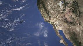Itinerario di un aereo commerciale a Los Angeles, Stati Uniti dall'animazione ad ovest di introduzione 3D illustrazione di stock