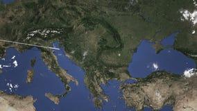 Itinerario di un volo piano commerciale a Bucarest, Romania sulla mappa Animazione di introduzione 3D illustrazione vettoriale