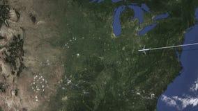 Itinerario di un volo piano commerciale a Kansas City, Stati Uniti sulla mappa, animazione 3D royalty illustrazione gratis