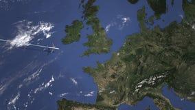 Itinerario di un volo piano commerciale a Lille, Francia sulla mappa Animazione di introduzione 3D royalty illustrazione gratis