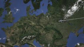 Itinerario di un volo piano commerciale a Lipsia, Germania sulla mappa Animazione di introduzione 3D illustrazione di stock