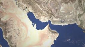 Itinerario di un volo piano commerciale a Manama, Bahrain sulla mappa, animazione 3D illustrazione vettoriale