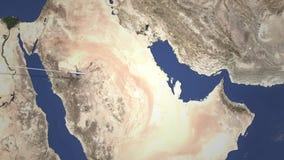 Itinerario di un volo piano commerciale a Manama, Bahrain sulla mappa Animazione di introduzione 3D illustrazione di stock