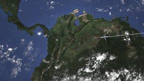 Itinerario di un volo piano commerciale a Medellin, Colombia sulla mappa, animazione 3D illustrazione di stock
