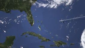 Itinerario di un volo piano commerciale a Miami, Stati Uniti sulla mappa, animazione 3D illustrazione di stock