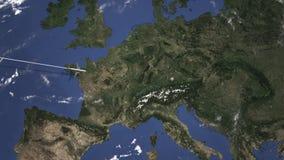 Itinerario di un volo piano commerciale a Monaco di Baviera, Germania sulla mappa Animazione di introduzione 3D illustrazione di stock