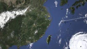 Itinerario di un volo piano commerciale a Nan-Chang, Cina sulla mappa, animazione 3D royalty illustrazione gratis