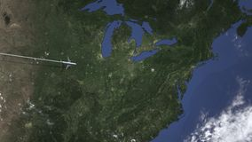 Itinerario di un volo piano commerciale a Pittsburgh, Stati Uniti sulla mappa Animazione di introduzione 3D illustrazione di stock