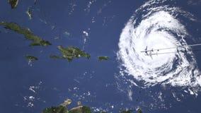 Itinerario di un volo piano commerciale a Santo Domingo, Repubblica dominicana sulla mappa, animazione 3D illustrazione vettoriale