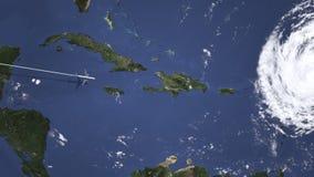 Itinerario di un volo piano commerciale a Santo Domingo, Repubblica dominicana sulla mappa Animazione di introduzione 3D illustrazione di stock
