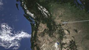Itinerario di un volo piano commerciale a Seattle, Stati Uniti sulla mappa, animazione 3D illustrazione di stock
