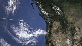 Itinerario di un volo piano commerciale a Seattle, Stati Uniti sulla mappa Animazione di introduzione 3D illustrazione di stock