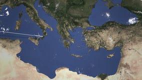 Itinerario di un volo piano commerciale a Smirne, Turchia sulla mappa Animazione di introduzione 3D illustrazione vettoriale