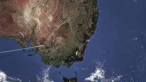Itinerario di un volo piano commerciale a Sydney, Australia sulla mappa Animazione di introduzione 3D illustrazione vettoriale