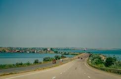 Itinerario E-95 L'entrata alla città di Odessa Immagini Stock Libere da Diritti