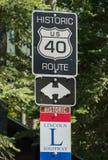 Itinerario storico 40 e Lincoln Highway fotografia stock libera da diritti
