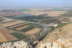 Itinerario 60 & valle di Jezreel dal precipizio Fotografia Stock