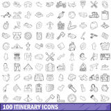 100 itinerary icons set, outline style. 100 itinerary icons set in outline style for any design vector illustration stock illustration