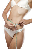 Its' sixty. Close up view of woman measuring waist on white back Stock Images