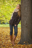 Its Autumn! 2. 20-25 years old beautiful sexy woman portrait in natural autumn outdoors Stock Photos