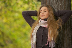 Its Autumn! 2. 20-25 years old beautiful sexy woman portrait in natural autumn outdoors Royalty Free Stock Photography