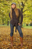 Its Autumn! 2. 20-25 years old beautiful sexy woman portrait in natural autumn outdoors Stock Photography